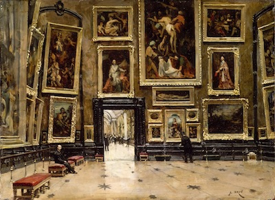 Many Paintings of different size on a wall